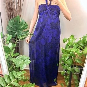 Floral Blue Black Chiffon Flowy Long Maxi Dress